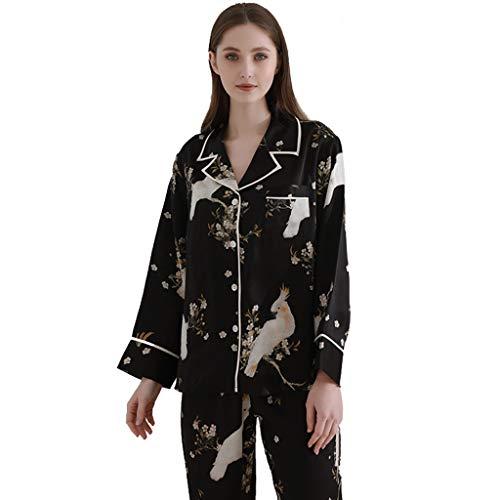 Pigiami Due Pezzi Set Pigiama Donna in Seta di gelso Naturale Kimono da casa Stampato Nero per Ragazze Set Pigiama da Donna Sexy con Corpo Nero Accappatoi (Color : Black, Size : M)