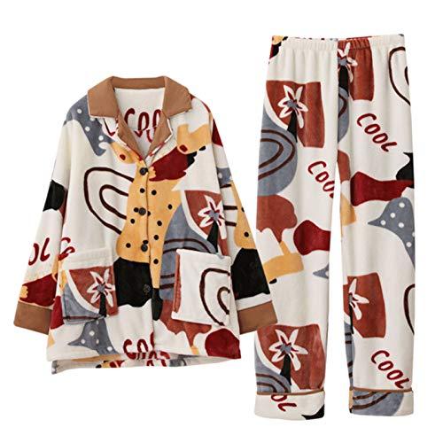 SPLLEADER Pigiama da Donna Set Pigiama Due Pezzi,Morbido Manica Lunga Camicia e Pantalone Largo con Tasche,L