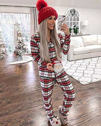 SXDQSZ Pigiama natalizio2020 Donne Colletto rovesciato Manica Lunga Stampa Scozzese Natalizio Pigiama Casual Set Natale Comodo Rosso Autunno Inverno pigiam