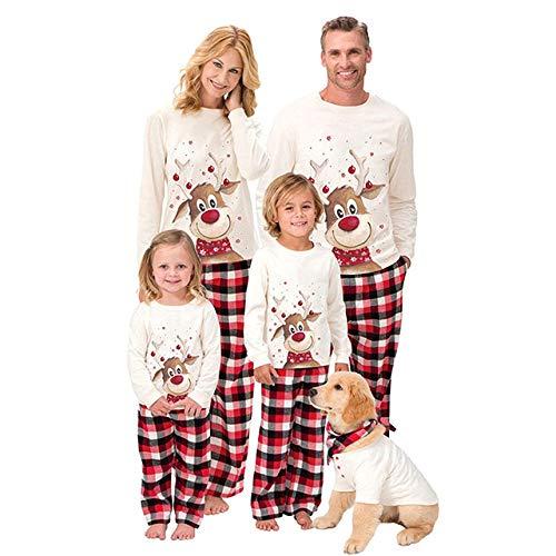 WFE&QFN Pigiama natalizio2020 Pigiama Natalizio Famiglia Vestiti Coordinati Set Modello di Cervo Top Pantaloni papà Mamma e Figlia Figlio per Abiti da Famiglia, Avorio, Bambini 13,14T