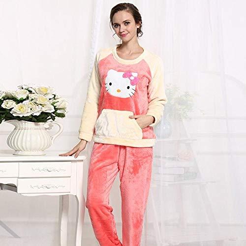 Whmyz - Pigiama invernale da donna, in flanella, a maniche lunghe, con motivo a maniche lunghe, con pigiama, taglia XXXL
