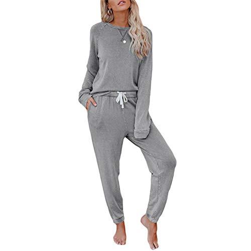 XRQ Set Jogging Stile da Notte delle Donne Pajamas Set Pigiama Figura Intera Top & Bottoms Sleepwear Cotone di PJ,Grigio,XL