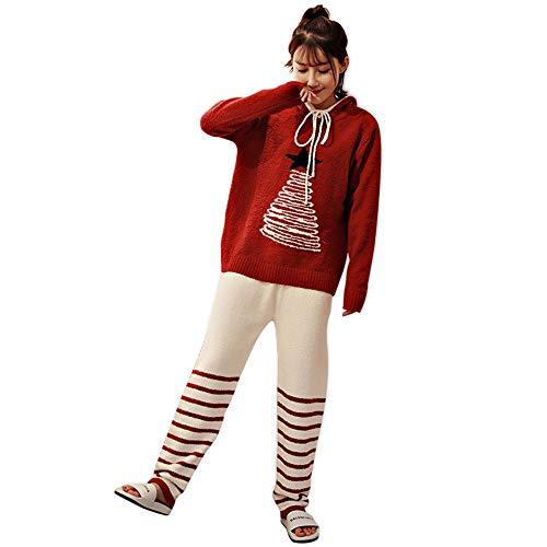 Yamyannie-Clothing Set Pigiama da 2 Pezzi in Morbido Pantalone da Notte da Donna (Dimensione : XL)