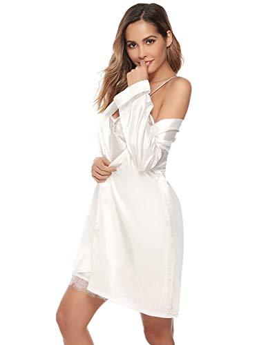 Aibrou Vestaglia Donna Sexy in Seta 2 Pezzi V-Collo, Indumenti da Notte con Pizzo e Cintura, Biancheria da Notte Camicia da Notte Pigiama Sposa Kimono Donna