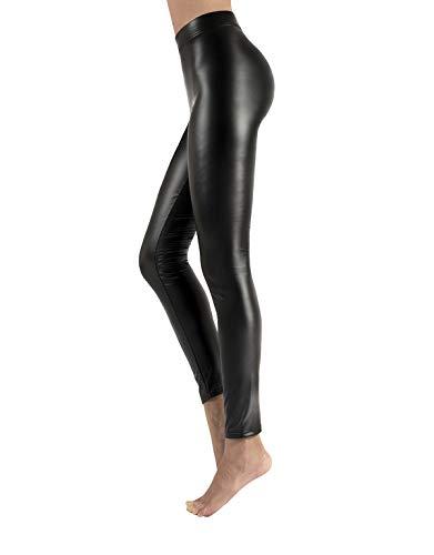 CALZITALY Leggings Felpato in Finta Pelle con Elastico Confort| Nero | XS, S, M, L, XL | Made in Italy (XS, Nero)