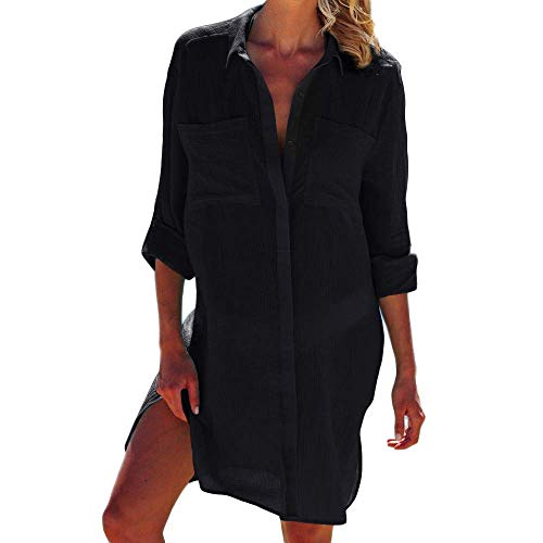 chuangminghangqi Copricostume Mare Donna Copribikini Costume da Bagno Camicia Bluse Lunga Cover Up Spiaggia Camicetta Cardigan Estivo (Taglia Unica, Nero)