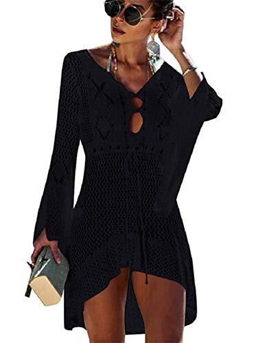Copricostume da Bagno Donna in Maglia Uncinetto Estate Abito da Spiaggia Bikini Cover Up Camicetta Maglia Tunica Kaftan Top (One Size, A - Nero)