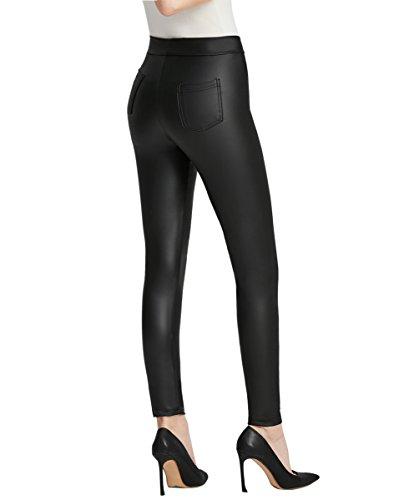 Everbellus Nero Leggings Ecopelle con Tasca per Donna Skinny Pelle Pantaloni Medium