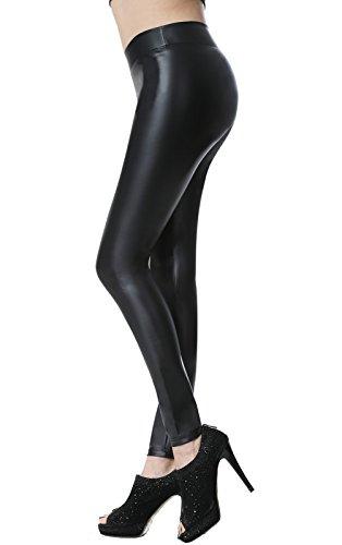 Everellus Donna Pu Leggings Pelle Elastico Skinny Pantaloni Nero Medio