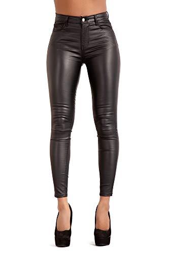 Glook Vita Alta Pelle Leggings per Donna Sexy Ecopelle Pantaloni