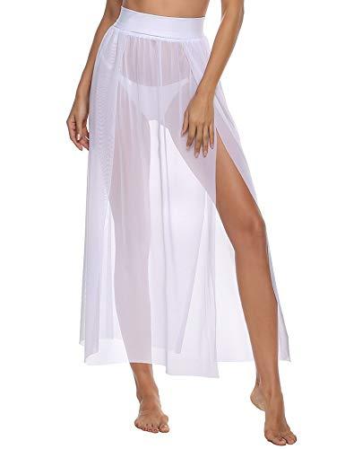 iClosam Pareo Mare Donna Mini Elegante Chiffon Cover Up Wrap Sarong Copricostumi (Bianca, Taglia Unica)