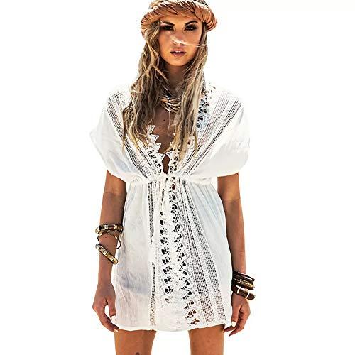Lazzon Copricostume Mare Donna Sexy Parei Cotone Camicia da Spiaggia Costume da Bagno