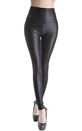 Leggings in pelle PU, a vita alta, sottile pelle sintetica nero opaco M (107 cm/60 cm/81 cm)