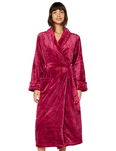 Marchio Amazon - Iris & Lilly Long Plush Dressing Gown Donna, Rosso (rosso), S, Label: S
