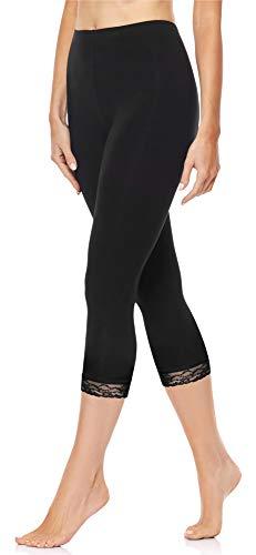 Merry Style Leggings 3/4 con Pizzo Donna MS10-224 (Nero, 4XL)