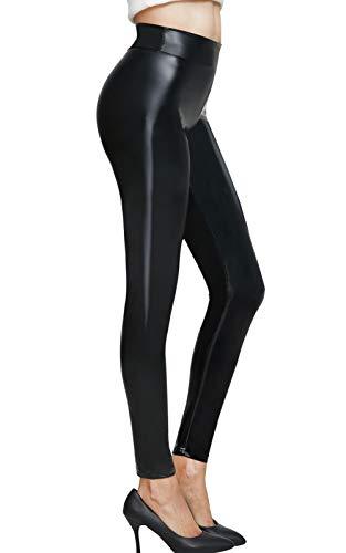 Pelisy Leggings Effetto Finta Pelle Donna Nero Metà Vita Elastico Skinny Sexy Ecopelle PU Pantaloni