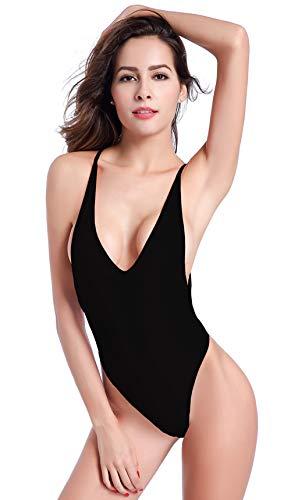 SHEKINI Donne Halter Sexy di Un Pezzo Backless Costumi da Bagno Perizoma Costume da Bagno Bikini (X-Small, Nero)