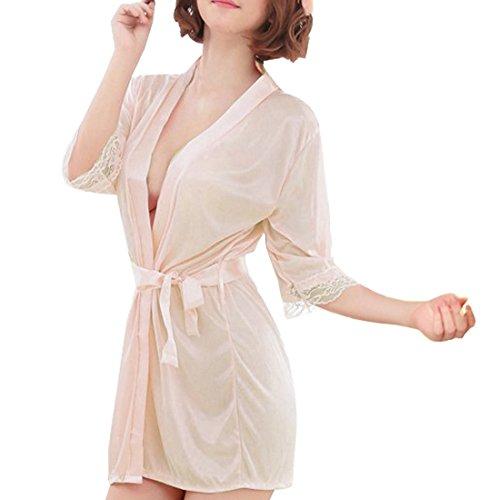 Sidiou Group Vestaglia Kimono Donna Elegante Pigiama Vestaglia Raso Corta Camicie da Notte per Donna Accappatoio Biancheria da Notte Abito da Notte Indumenti da Notte (S, Stile 1-Champagne)