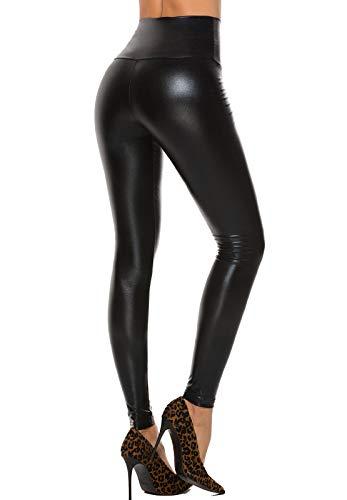 STARBILD Leggings Pelle Donna Sexy Pantaloni PU Collant Vita Alta Push up Jeans Ecopelle Matita Slim Similpelle Basic Moto Stile, A Nero Lucido S