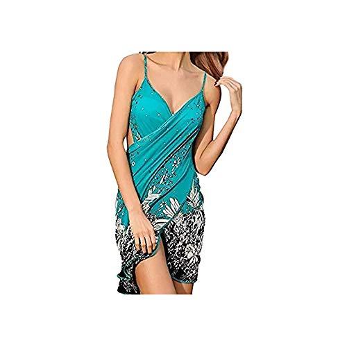 TTD Costume da Bagno Senza Spalle, Copricostume per Bikini per Donna , Acid Blue, Taglia unica