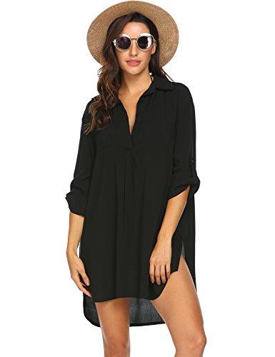 UNibelle Copricostume Donna Spiaggia Copricostumi e Parei Costume da Bagno Maniche a 3/4 Chiffon Camicia Abito da Spiaggia Elegante Nero S