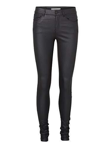 VERO MODA - Vmseven Nw S.slim Smooth Coated Pants, Pantaloni da donna, Nero, 38 /L32 (Taglia produttore: M)