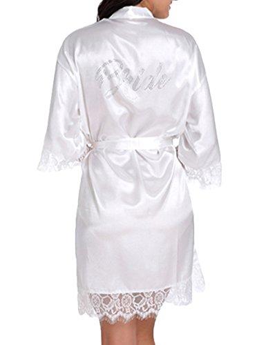 WPFING Vestaglia da Sposa Camicia da Notte in Pizzo Festa della Sposa in Satin Vestaglia Donna Bianco (Large)
