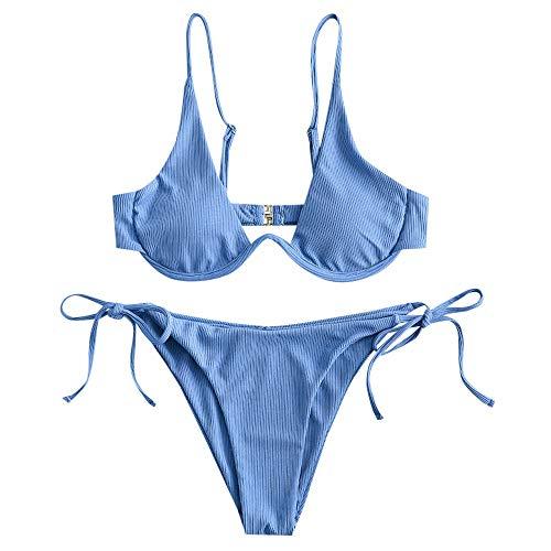 ZAFUL - Bikini da donna a due pezzi, motivo leopardato Criss Cross Push Up High Cut Blu M