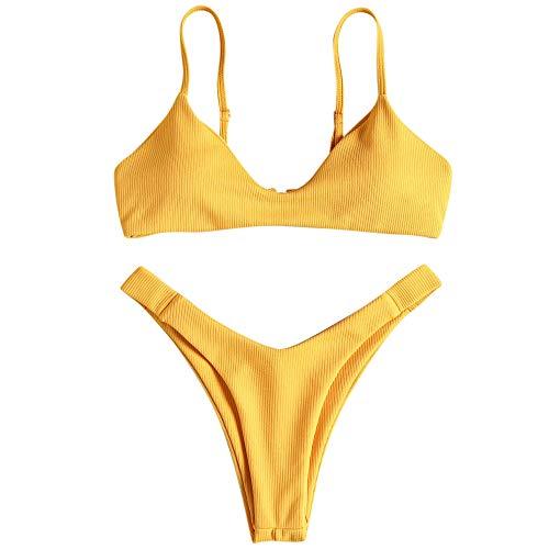 ZAFUL - Bikini da donna imbottito, a coste, con bikini giallo. S