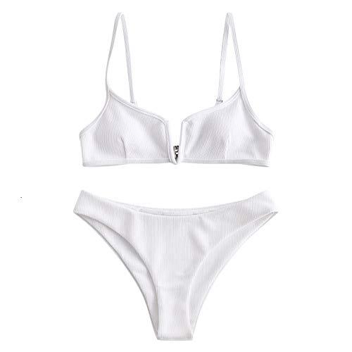 Zaful - Bikini da donna, set di 2 pezzi, costume da bagno sexy con slip sgambato bianco S