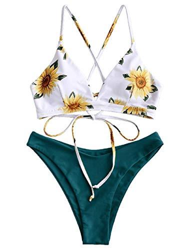 ZAFUL Bikini Set Imbottito con Spalline Incrociate Slip Stampa Floreale per Donna 2019 (Margherita-Verde Scuro, S (EU.36))