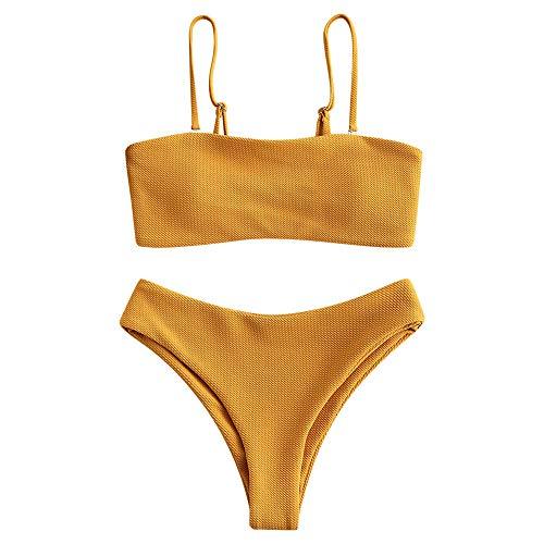 ZAFUL Set Bikini da Donna Imbottito, Sexy Costume da Bagno con Spalline per Spaghetti, Signore Strutturato, a Fascia Swimwear (L, Giallo Ape)