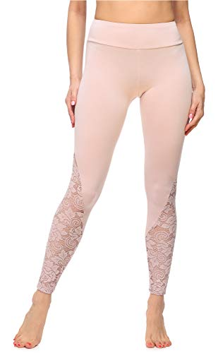 Merry Style Leggings Lunghi Pantaloni Donna MS10-305 (Rosa Cipria, XXL)